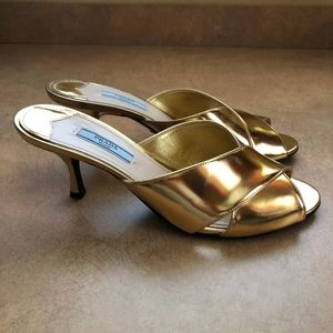 PRADA Gold Kitten Heels Sandals Shoes Size 39 Gold